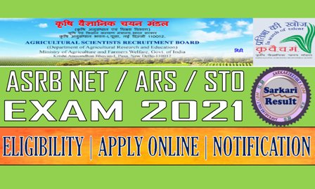 ASRB NET ARS Recruitment 2021
