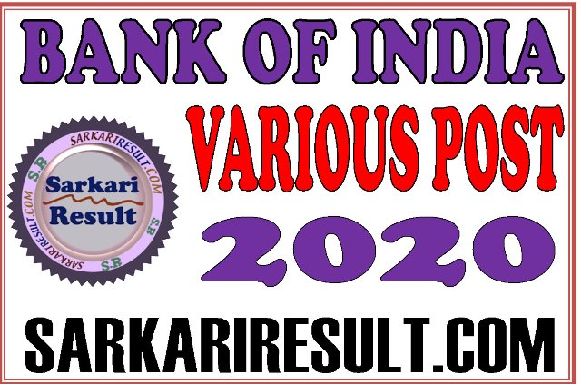 Bank of India BOI Various Post Recruitment 2020