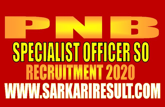 PNB Specialist Officer SO Recruitment 2020